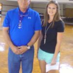Grand Knight with 2016 Fair queen candidate Brittany Weyand wishing her success with the KC support