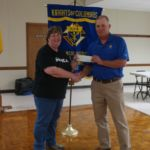 Grand Knight, Randy Proske, presenting a check for $1,000 dollars to Sacred Heart RE Program. Accepting the check is Debbie Greene for Sacred Heart, Faith Formation Coordinator