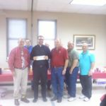 Knights of Columbus presenting to Sacred Heart School a check for $10,000 dollars. Grand Knight - Randy Proske presented to Father Matthew Kinney and school principal David Smolik
